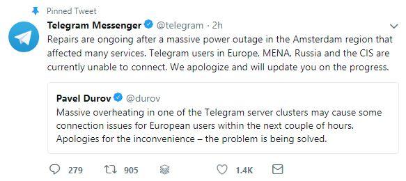 همچنین تلگرام در اکانت رسمی خود در توییتر اعلام کرد که قطعی سراسری برق در آمستردام باعث شده که سرویس های تلگرام نیز تحت تاثیر قرار گرفته و این پیام رسان در مناطق مختلفی نظیر اروپا، خاورمیانه و روسیه از دسترس خارج شود.