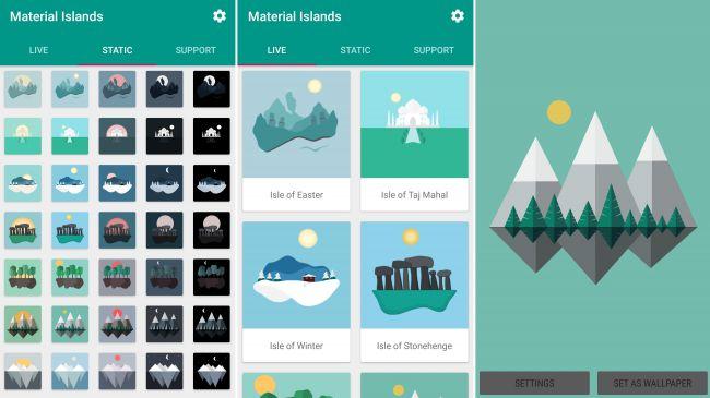 متریال آیلندز وال پیپرز (Material Islands – Wallpapers)