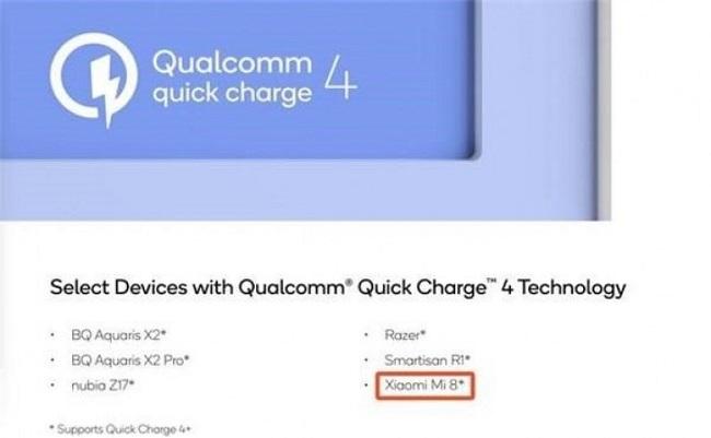 همانطور که در تصویر مشاهده میکنید، نام گوشی شیائومی می 8 همراه با گوشیهای نوبیا زد 17 (Nubia Z17) و اسمارتیزان آر 1 (Smartisan R1) به عنوان گوشیهایی که از تکنولوژی QuickCharge 4.0 پشتیبانی میکنند، دیده میشود.