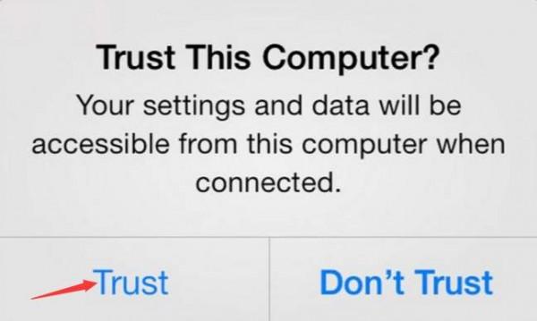 گوشی آیفون 7 خود را با یک کابل یواسبی به کامپیوتر متصل کنید.  پسورد یا رمز عبور گوشی خود را وارد کرده و قفل دستگاه را باز کنید.  پیام ?Trust This Computer روی صفحه ظاهر میشود که از شما میپرسد «آیا به این کامپیوتر اعتماد دارید؟» گزینهی Trust را انتخاب کنید.
