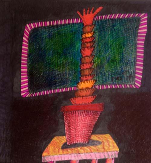حتی اولین نقاشیهای جان سارکین بسیار انتزاعی بودند. در برخی از نقاشیهای او شاخههای کاکتوسها به مانند مارهای سبز در هم پیچانده شدهاند و در برخی هم شاخههای قرمز همچون پلههای مارپیچی به نظر میرسند