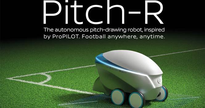 خط کشی زمین فوتبال با ربات خودران نیسان ؛ راهیابی تکنولوژیهای جدید به فوتبال