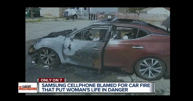 گوشی سامسونگ خودرویی را به آتش کشید