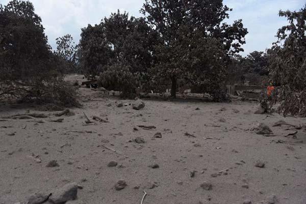 روستای سن میگوئل لوس لوتس در جریان فورانهای اخیر فوئگو از خاکستر و گِل داغ پوشیده شد