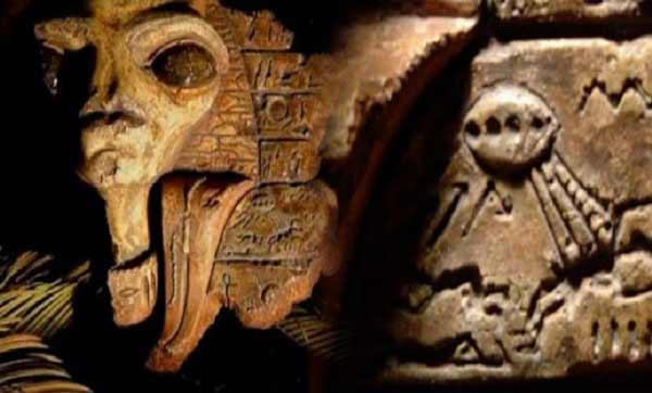 لوحه سنگی عجیبی که گفته میشود در اتاق مخفی خانهی مصرشناس مشهور سِر ویلیام پتری در اورشلیم کشف شدهاند. گزارشهای مربوط به این کشف، ولولهای در بین علاقهمندان به نظریه موجودات فضایی باستان به راه انداخت
