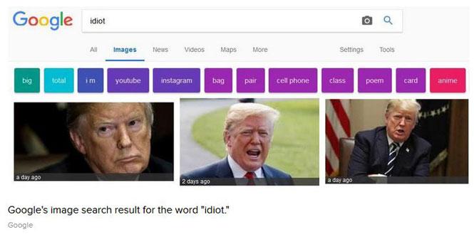 نتایج جستجوی گوگل باز هم خبرساز شد؛ نمایش تصویر ترامپ با جستجوی واژه احمق