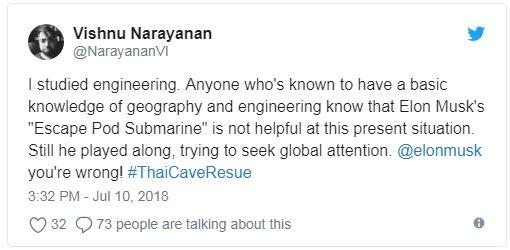 کاربری به نام ویشنو نارایانان که ظاهرا یک مهندس است، در توییتر نوشت