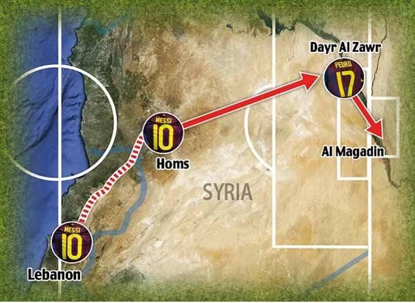 انطباق حرکات مسی و یارانش، روی نقشه، با مسیر زمینی لبنان، از حمص به شهر شرقی، المیادین در سوریه