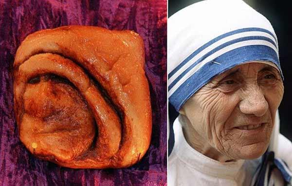 در کافه بونگو جاوا در بلمونت، تنسی، نان رول دارچینی دیده شد که شبیه به مادر ترزا بود. این نان رولی قبل از اینکه در کریسمس ۲۰۰۷ به سرقت برود، تا ۱۰ سال در این کافه به نمایش گذاشته شد