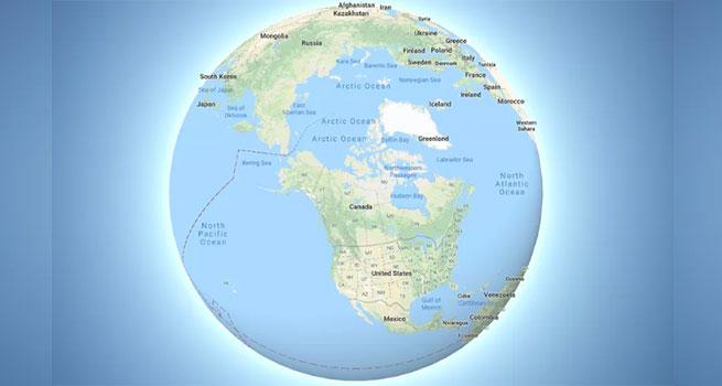 ایجاد تغییراتی در نحوه نمایش نقشه جهان در گوگل مپس ؛ تبدیل حالت نمایش مسطح به کره زمین