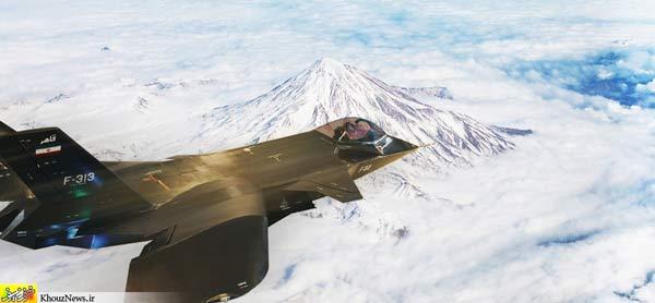 جنگنده قاهر اف-۳۱۳ را در حال پرواز بر فراز کوههایی سفیدپوش میبینیم که ظاهرا با جادوی فتوشاپ طراحی شده. عکس از خوز نیوز