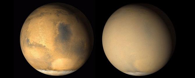 در عکس موزاییکی میتوانید تاثیر طوفان شن مریخ را به خوبی مشاهده کنید. هر سال در مریخ طوفانهای شن اتفاق میافتند. اما طوفانهای شن بهندرت، به اندازهای بزرگ میشوند که تمامی سطح سیاره را بپوشانند