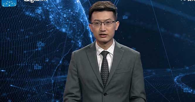 حضور گوینده خبر هوش مصنوعی در خبرگزاری شینهوا