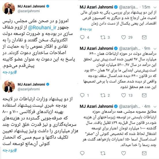 توئیت های آذری جهرمی در خصوص بودجه وزارت ارتباطات و فناوری اطلاعات در سال 98