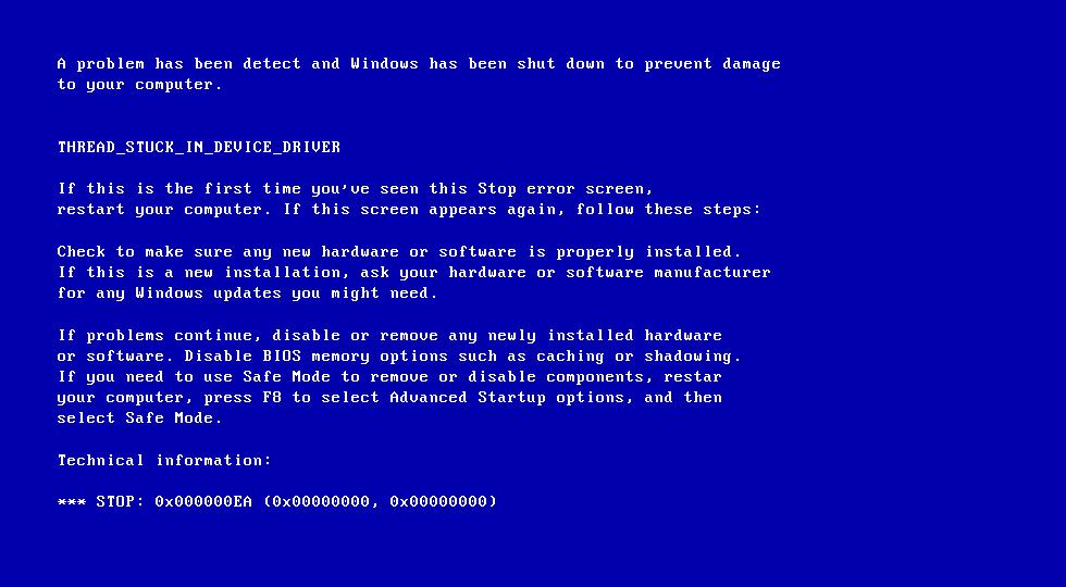خطای بلو اسکرین یا صفحه مرگ آبی ویندوز در ویندوز 7