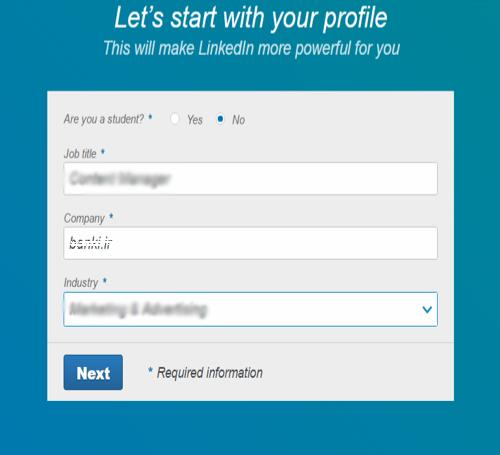 ساخت حساب کاربری در لینکدین