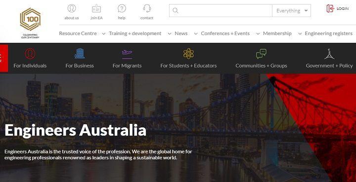 تصویر ایندکس سایت ENGINEERS AUSTRALIA که محبوب مهندسان ایرانی مشتاق به فعالیت در حوزههای فنی در این کشور صنعتی بوده و ۱۰۰ سال قدمت داشته و ۱۰۰ هزار مهندس، عضو این مجموعه بزرگ فنی استرالیا هستند