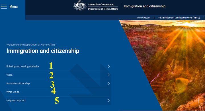 ایندکس سایت رسمی اداره مهاجرت استرالیا ۱) مربوط به اطلاعات زندگی و شرایط ورود به این کشور ۲) انواع ویزاهای استرالیا ۳) شرایط دریافت شهروندی ۴) آنچه باید در استرالیا انجام دهیم ۵) راهنما