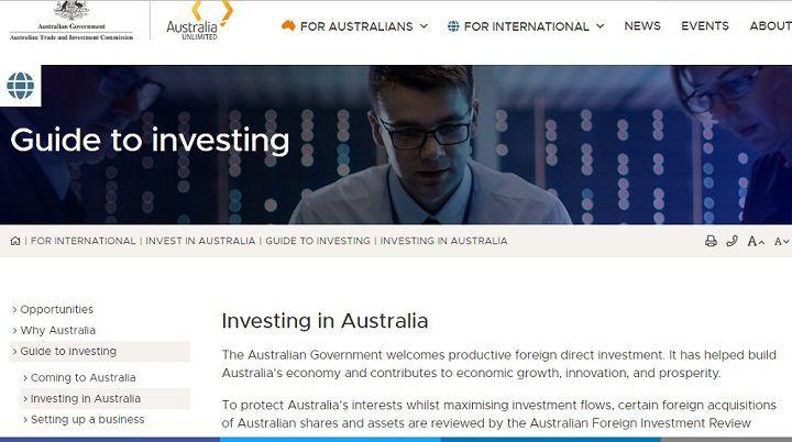 تصویر ایندکس سایت سرمایه گذاری در استرالیا که بخشهای متنوعی برای ارائه راهنمای سرمایه گذاری، راهاندازی کسب و کار، تاسیس شرکت، رویدادهای ملی و بینالمللی تجاری و صنعتی این کشور و فرصتهای درآمدزایی از طریق بورس را ارائه میدهد