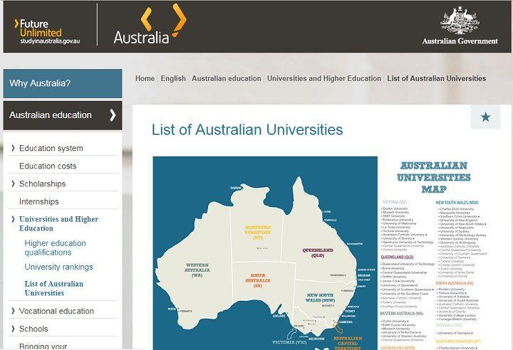 فهرست کامل دانشگاه های استرالیا در این لینک در دسترس است.