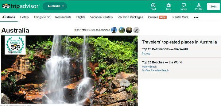 نزدیک به ۱۰ میلیون نظر (Review) در سایت تریپ ادوایزر درباره مقصدهای گردشگری استرالیا تا ۲ سپتامبر ۲۰۱۹ میلادی ثبت شده است که راهنمای عالی برای گردشگران است