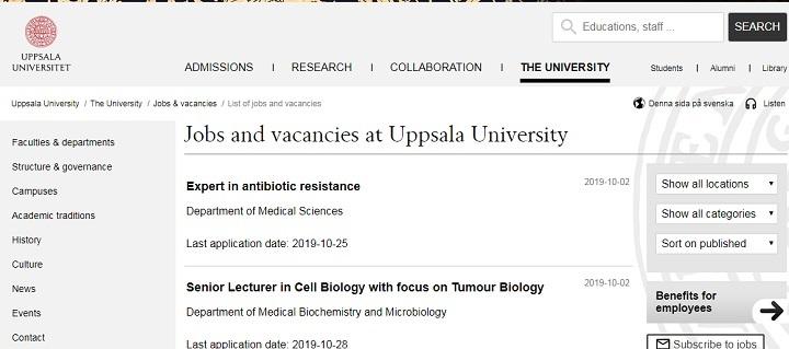 فرصت های استخدامی دانشگاه اوپسالا در واقع اعطای بورس به دانشجوی دکترا است