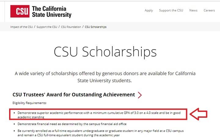 دانشگاه CSU برای اعطای فاند، معدل ۳ از ۴ را شرط لازم میداند