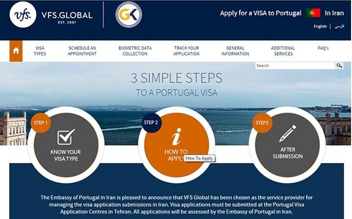 به منظور دریافت ویزای گردشگری و تجاری کوتاه مدت پرتغال، بایستی به کارگزاری رسمی هندی VGSGLOBAL که نماینده سفارت پرتغال در تهران است مراجعه کرده و درخواست خود را بر اساس وقت اینترنتی، تسلیم کنید