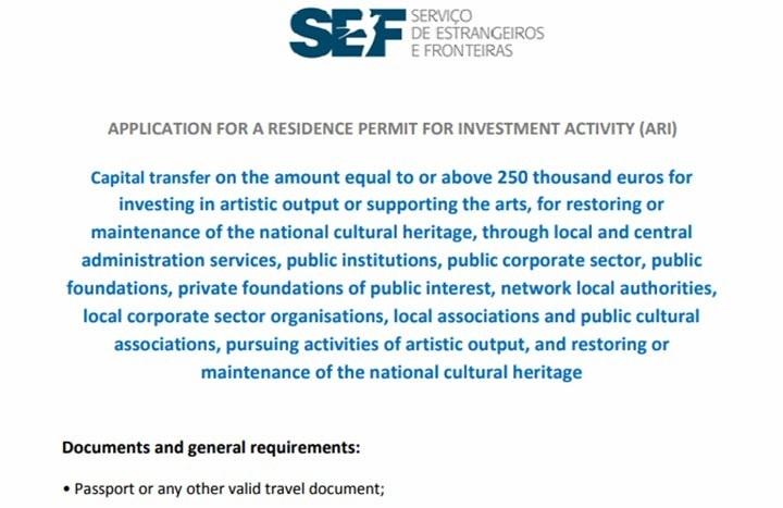 همان طور که در عکس بالا مشاهده میکنید، به منظور انتقال سرمایه به پرتغال جهت سرمایه گذاری در امور فرهنگی و هنری و میراث فرهنگی به ارزش 250 هزار یورو، امکان فعالیت در حوزههای مختلف فرهنگی برای شما فراهم است.