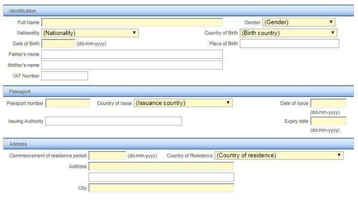 در ادامه تکمیل فرم اینترنتی ARI برای اپلای ویزای مهاجرتی پرتغال به منظور سرمایه گذاری، همان طور که در عکس بالا مشاهده میکنید، بایستی اطلاعات هویتی و جزییات گذرنامه را وارد کنید