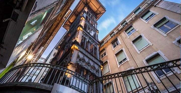 تصویر آسانسور معروف سانتاژوستای لیسبون پرتغال
