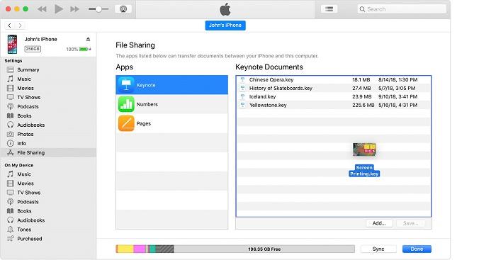 کپی کردن فایل از یک رایانه به یک نرم افزار iOS یا iPadOS