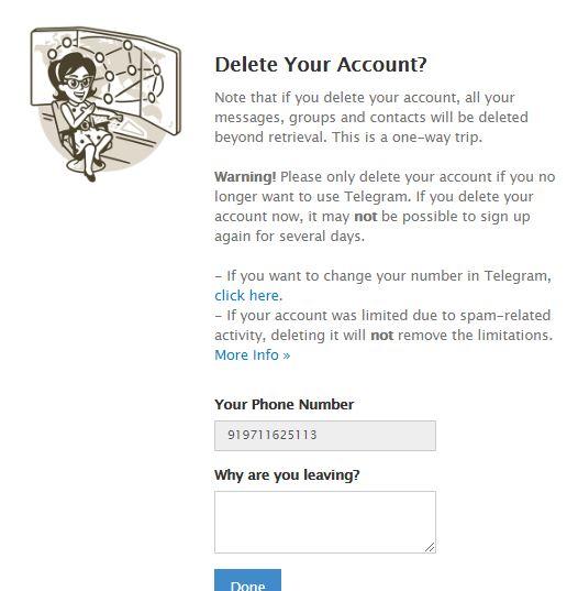 اگر اکانت تلگرام خود را حذف کنید، تمام گروهها، پیامها و مخاطبان شما برای همیشه حذف خواهند شد