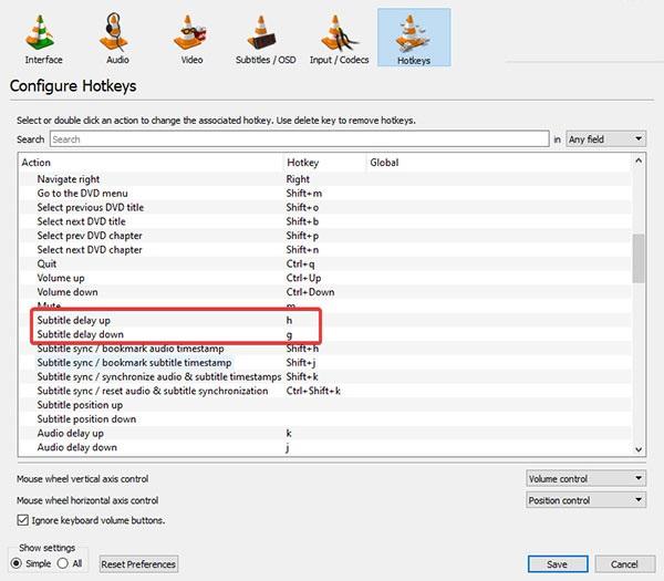 روش اول: تنظیم زیرنویس با استفاده از کلیدهای میانبر