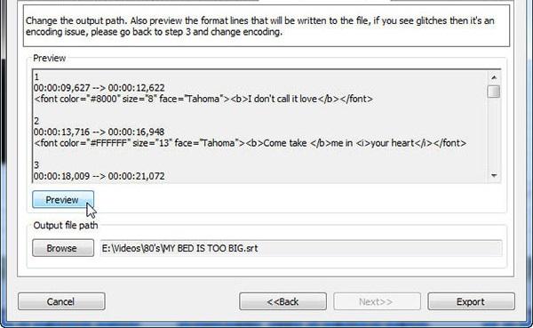 سپس به مرحلهی چهارم برگردید و دوباره بر روی preview کلیک کنید. آنقدر این کار را تکرار کنید تا انکدینگ مناسب با زیرنویس خود را پیدا کنید. سپس برای انتخاب محل ذخیرهی فایل خروجی بر روی browse کلیک کنید.