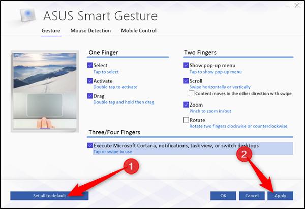 بازگرداندن تنظیمات پد لمسی در ویندوز 10