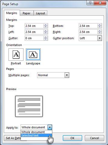 استفاده از صفحات عمودی و افقی در یک سند
