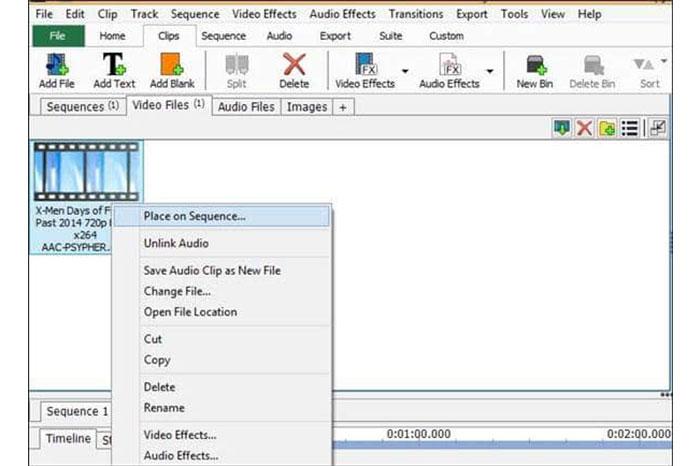 پس از بارگذاری کامل، روی آن راست کلیک کرده و Place on sequence را انتخاب کنید.