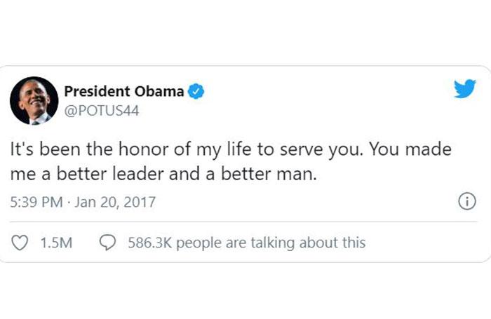آخرین توییت باراک اوباما به عنوان چهل و چهارمین رئیس جمهور ایالات متحده آمریکا