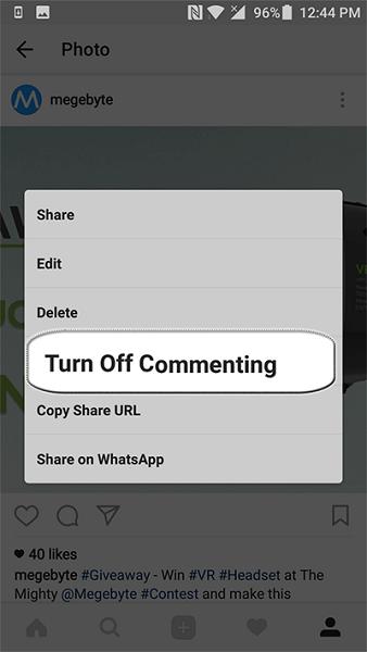 روش دوم آمورش بستن کامنت اینستاگرام : غیر فعال کردن نظرات یک پست قدیمی