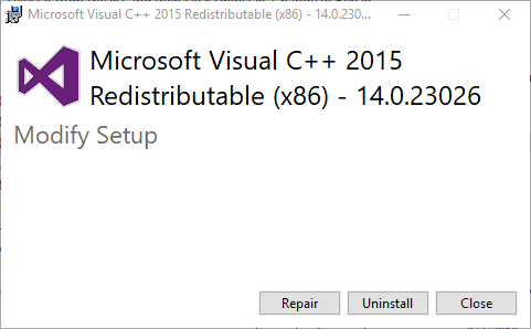 تعمیر یا نصب  Visual C++ 2015 Redistributable