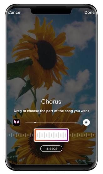 2- افزودن موسیقی به استوری اینستاگرام با استفاده از ابزار MUSIC
