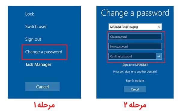 روش اول: تغییر پسورد ویندوز ۱۰ بااستفاده از کلید ترکیبیCTRL+ ALT+ DELETE