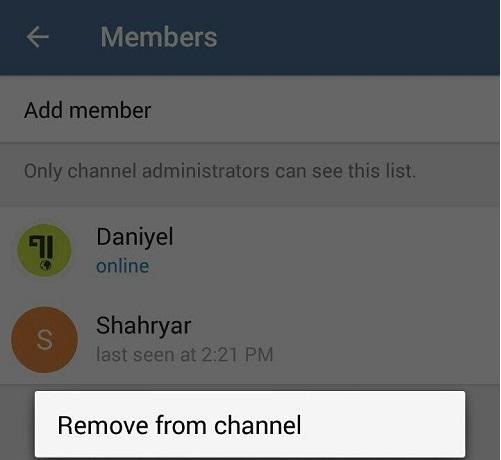 حذف کاربران از کانال در تلگرام (How to Delete Member from Telegram Channel)