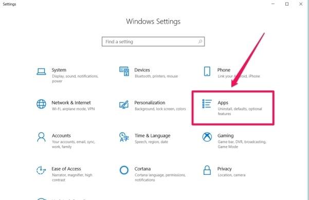 روش حذف برنامه در ویندوز ۱۰ از طریق تنظیمات
