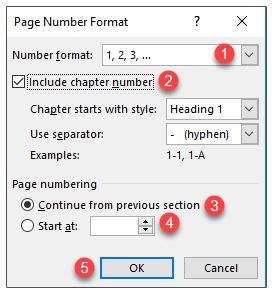 تنظیمات شماره صفحه