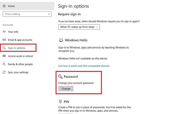 روش دوم: تغییر پسورد ویندوز ۱۰ با استفاده از منویSETTING