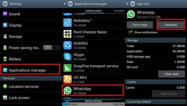 رفع مشکل تنظیم تاریخ و ساعت در واتساپ با نصب مجدد برنامه