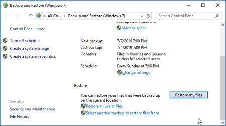 بازیابی فایل های حذف شده دائمی بدون نرم افزار با استفاده از یک نسخه پشتیبان