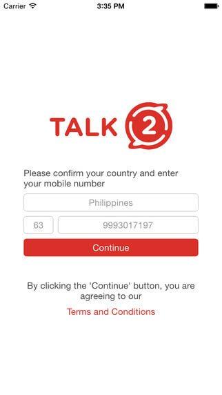 برنامهTalk2(ساخت رایگان شماره تلفن مجازی فیلیپین)